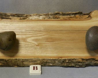 Live Edge Wooden Hangers with Rock Knobs from Lake Superior