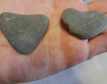 Natural Stone Heart Shaped Rocks from Lake Superior  item 12; 2 rocks