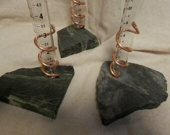 Rain Gauge  with Base rock of Ely Greenstone or Banded Taconite