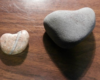 Natural Stone Heart Shaped Rocks from Lake Superior; Two Heart Rocks; # 8