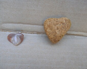 Natural Stone Heart Shaped Rocks from Lake Superior;  One rock,  One Agate