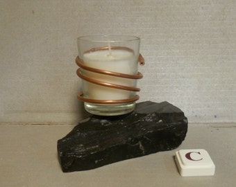 Copper Wrapped Votive Candle on a Rock Base