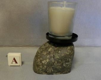 Stone Candle Holder;  Lake Superior Rock Base