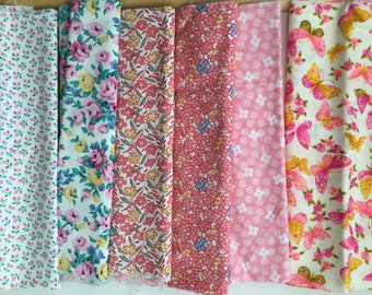 6 Cotton Quilt Fabric Fat Quarter Prints in Shades of Pink