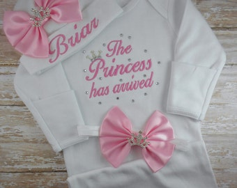 c2b7b3193 Baby girl gown, baby girl, hospital, outfit, coming home outfit, hat,  newborn baby girl, The Princess has arrived, embroidered, newborn gown