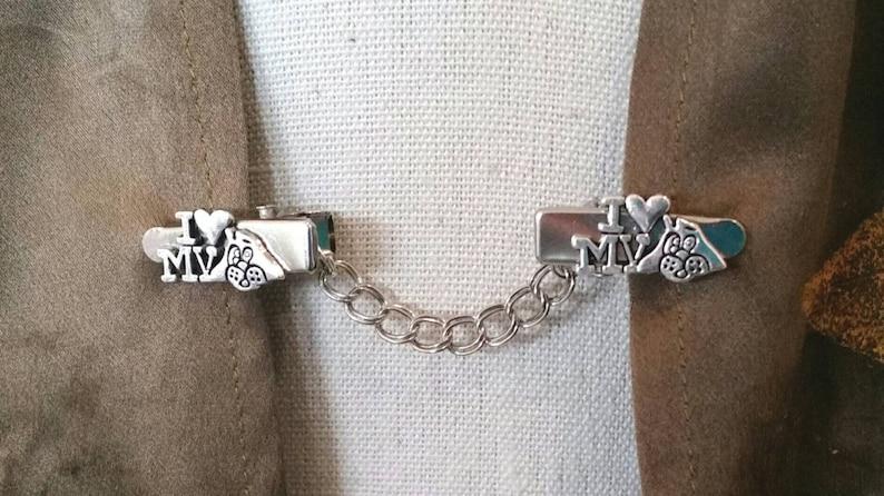 Sweater Clip Dog Silver Tone I LOVE My Dog Australian Made