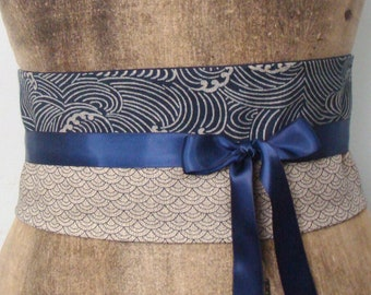 long cord tie teal /& chocolate brown vintage Japanese obi silk silk tassels Unique obi tie belts size XS-S Carnelian beads