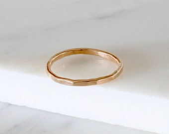 Gold fill Stacking ring, 1.5mm thin gold ring, stacking ring, delicate jewellery, dainty ring, hammered ring
