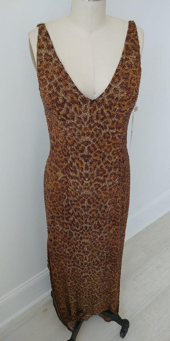 Leopard Silk Evening Gown beaded LG