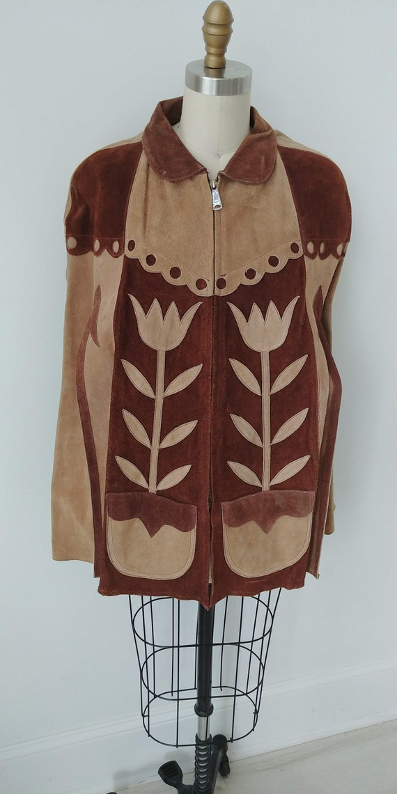 1960s Suede Hippie cape floral leather