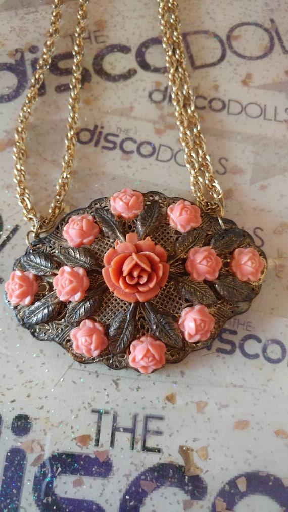 Celluloid Coral Rose Brooch Necklace Vintage