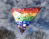 Rainbow Sun Catcher, Pride Triangle, Rainbow Triangle, Rainbow Window Art, Rainbow Mosaic, Rainbow Mirror Art, Rainbow Glass Art, Ships Free