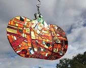 Pumpkin Orange Mirror Mosaic Sun Catcher - Free Shipping