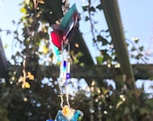 Blue Dazzling Sun Catcher, Blue Mirror Mosaic, Blue Sun Catcher, Contemporary Glass Sun Catcher
