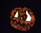 Bad Jack-O-Lantern Pin, Pumpkin Pin, Super Crunchy Jack-O-Lantern, Halloween Jewelry,  OOAK Freaky Jack O'Lantern - shipping included