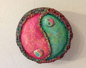 Yin Yang Wall Art, Taijitu, Pink and Green Yin Yang, Repurposed Bottle Caps Gourd Wall Art - shipping included