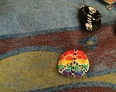 Pride Peace Pin Recycled Bent Bottle Cap Pride Rainbow  shipping included