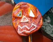 Halloween Jewelry Halloween Pumpkin OOAK Freaky Jack O'Lantern  shipping included