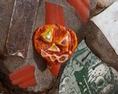Pumpkin Halloween Pumpkin Pin Back Recycled Bottle Cap Halloween Pumpkin OOAK Freaky Jack O'Lantern  shipping included