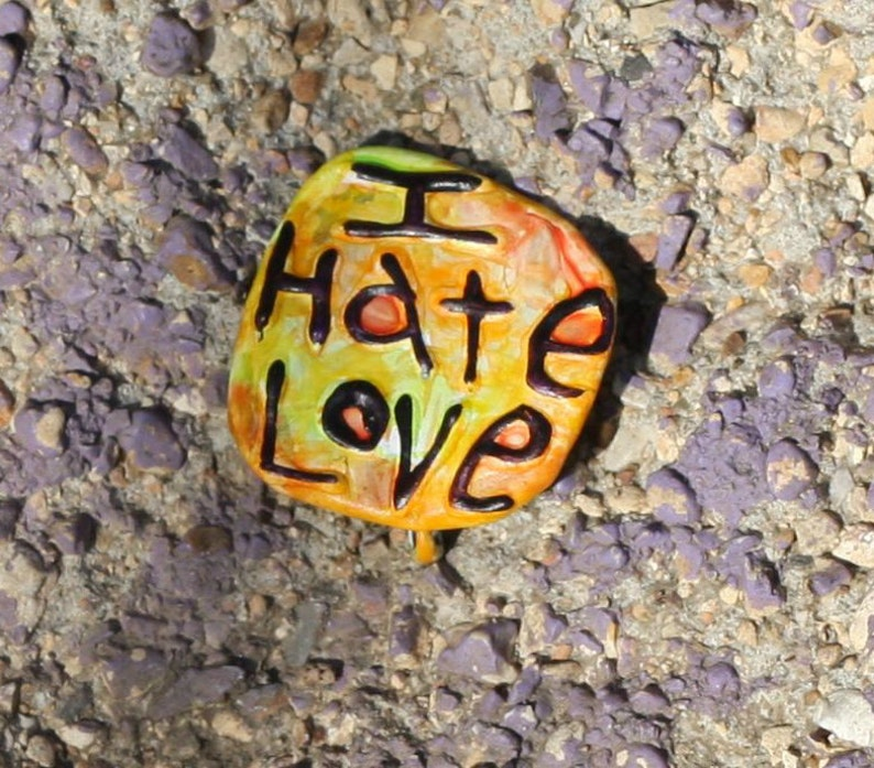 Repurposed Anti-Valentine Pin Upcycled Pin Back Button OOAK: image 0