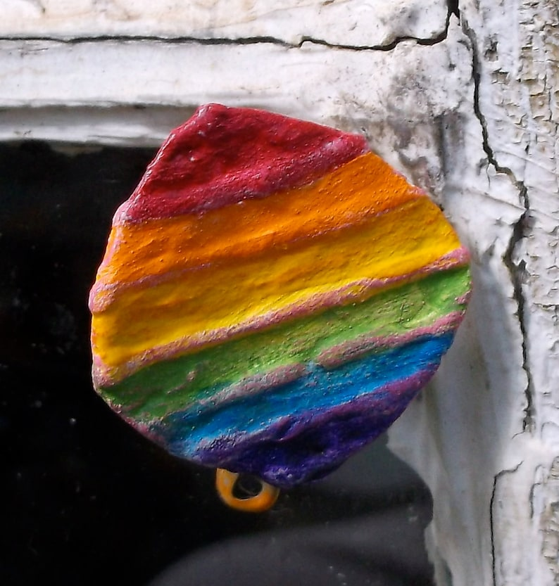 Pride Jewelry Recycled Bent Bottle Cap Pride Rainbow  shipping image 0