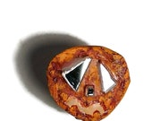 Pumpkin Halloween, Crunchy Jack O Lantern Pin, Recycled Bottle Cap Halloween Pumpkin OOAK Freaky Jack O'Lantern  shipping included