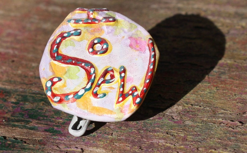 Upcycled Pin Back Button OOAK: I Sow Sew  frugal gift  image 0