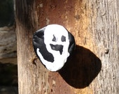 Wispy Ghost, Spooky Face, Ghost Pin, Halloween Upcycled Pin Recycled Bent Bottle Cap Glow in the Dark Ghost Halloween Pin  shipping included