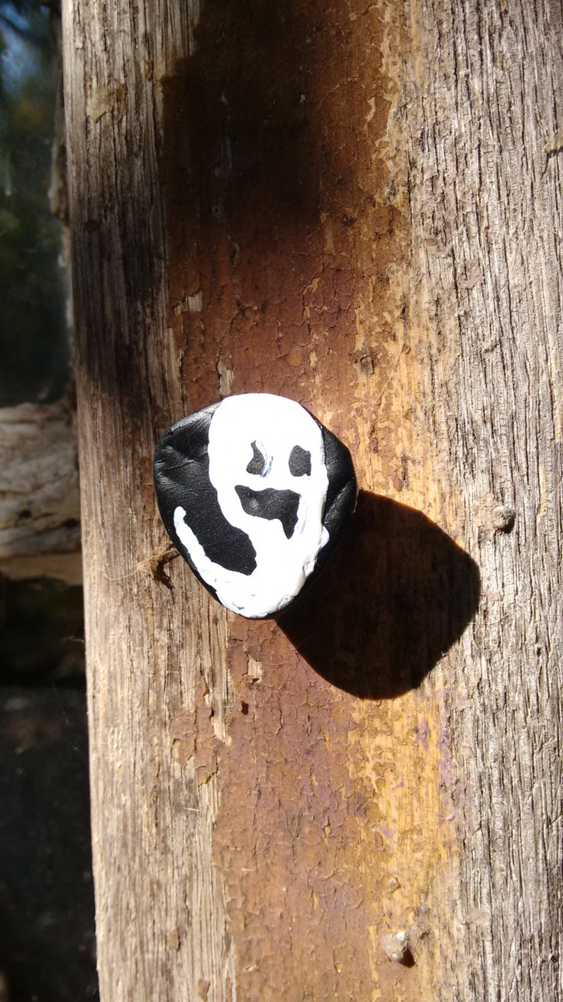 Wispy Ghost Spooky Face Ghost Pin Halloween Upcycled Pin image 0