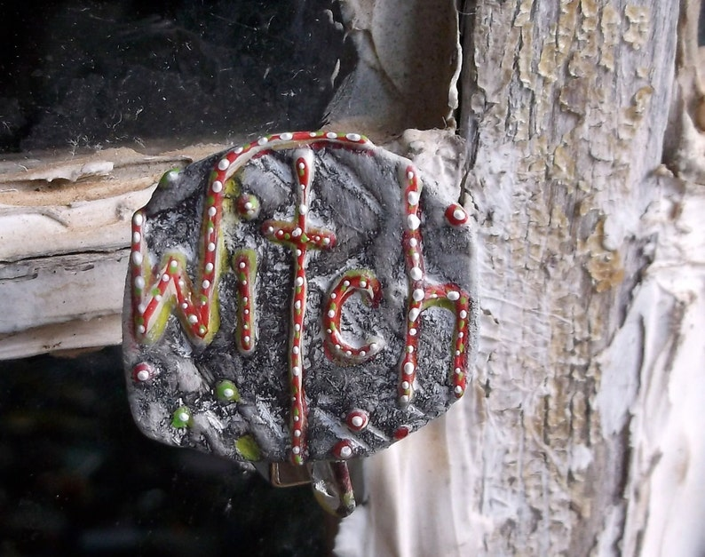 Witch Pin Witch Jewelry Upcycled Jewelry Recycled Bent image 0
