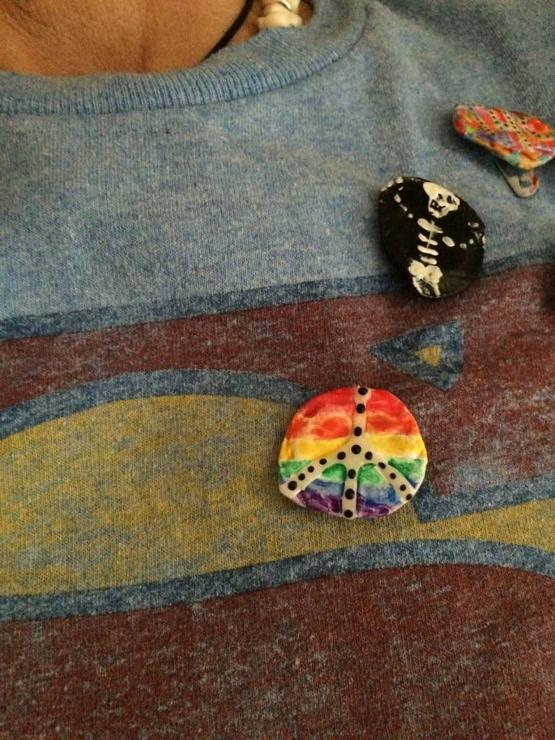 Pride Peace Pin Recycled Bent Bottle Cap Pride Rainbow image 0