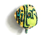 Hillary Safety Pin, HRC, Hillary Upcycled Pin, Hillary Clinton Pin, Hillary Clinton, Hillary Back Button OOAK: Hillary - shipping included