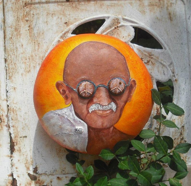 Gandhi Mahatma Gandhi Bottle Cap Eyes Gourd Art  shipping image 0