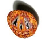 Pumpkin Halloween Pumpkin Upcycled Pin Button Recycled Bottle Cap Halloween Pumpkin OOAK Freaky Jack O'Lantern  shipping included