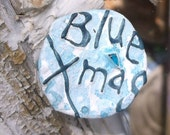 Blue Christmas Recycled Bent Bottle Cap Blue Xmas Pin  shipping included