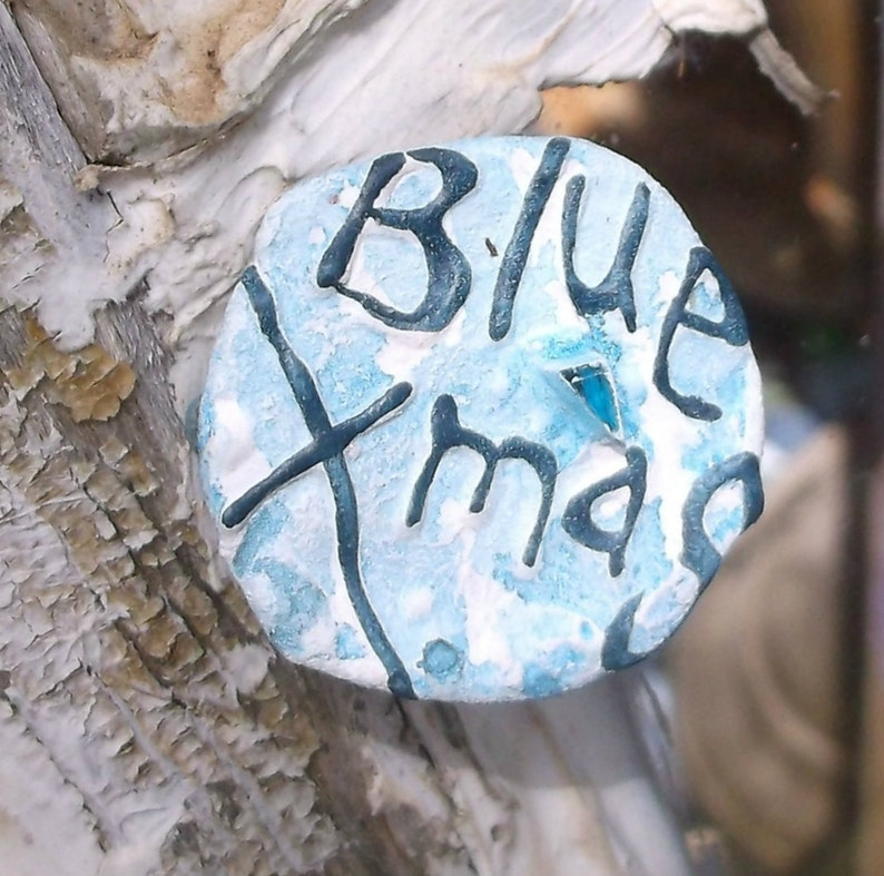 Blue Christmas Recycled Bent Bottle Cap Blue Xmas Pin image 0