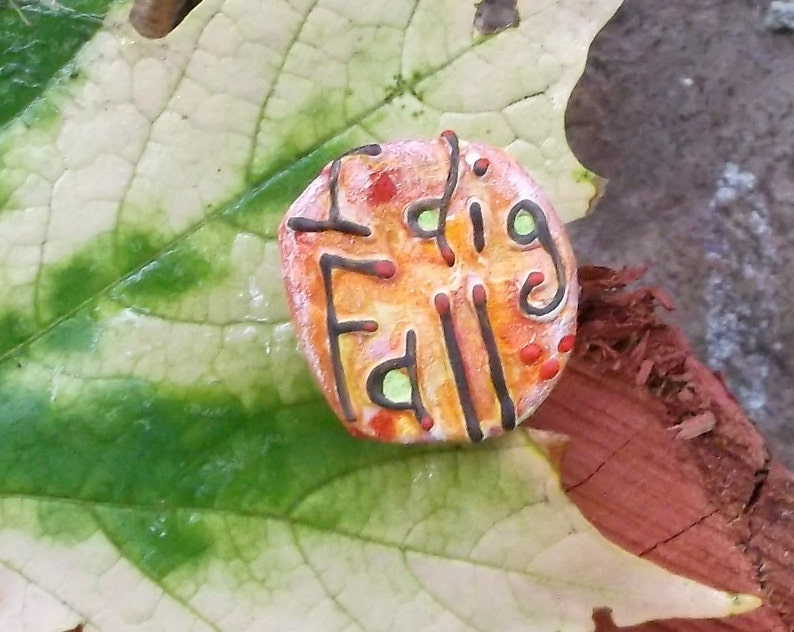 Fall Colors I Dig Fall Upcycled Pin Recycled Bent Bottle Cap I image 0