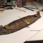 Expeditionary Canoe, 28mm White Resin, Handpainted. Fantasy RPG