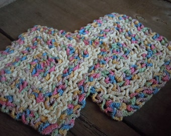 Vintage Hot Pads Crochet Pastel and Cream Cottage Prairie Style Handmade Kitchen Decor Farmhouse Chic