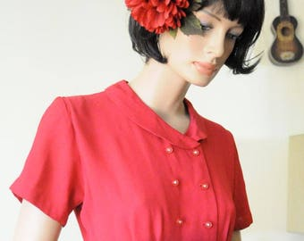 50's RED DRESS with Rhinestone Buttons Size Small Party Dress