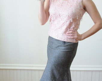 1950's Pink SEQUIN & BEADED TOP / Glass Beaded Blouse Size Medium for Spring 2013