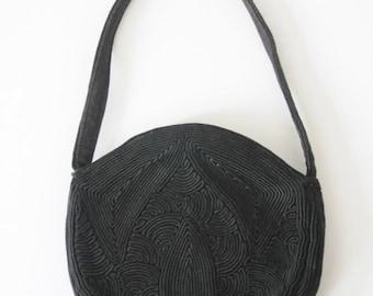 40's BLACK CLUTCH EVENING Bag  Round Corde  Purse