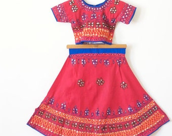 GIRLS DRESS Embroidered Red Tunic / Ethnic Skirt and Top Two Piece Dress