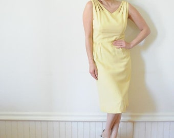 1950's YELLOW WIGGLE DRESS Crepe Dress / Two Piece Suit / Embroidered Gown by Rene Original