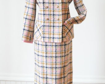 60's PLAID JACKET & SKIRT Two Piece Wool Suit in Pink and Mustard Yellow for Spring