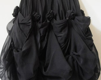 Vintage Black Skirt SHEER BLACK TULIP Skirt by Janine London Paris New York Size Extra Small