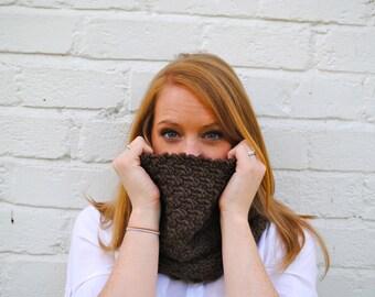 Dark Brown Cobh Cowl - Handmade Dark Brown Wool Knit Cowl