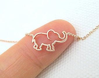 Rose Gold Tiny Elephant Necklace Baby Animal Necklace Minimalist Jewelry, Birthday Gift, Everyday Wear