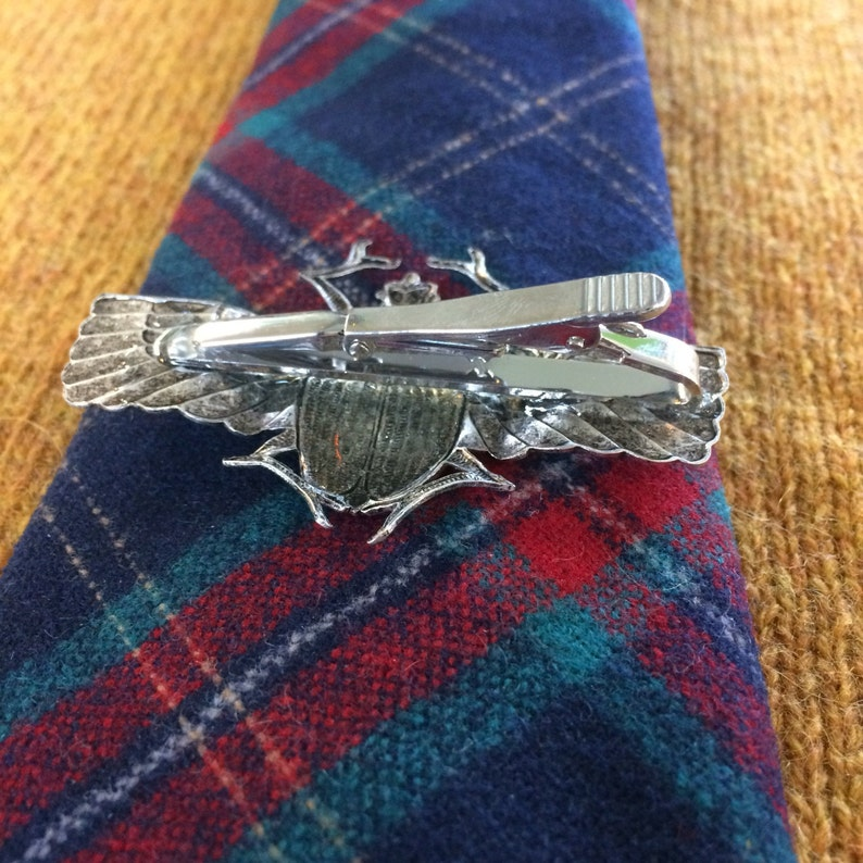 Giant scarab winged beetle tie bar clip  handmade in the USA  unique mens statement piece  vintage antique brass dapper bug insect