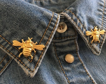 Handmade bee bumblebee collar pins // bug insect lapel cardigan sweater clip broach // lead and nickel free // Holiday gift idea under 20